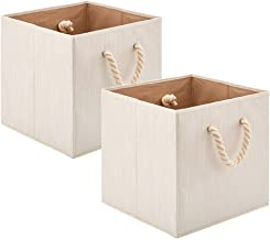 Set of 2 EZOWare Foldable Bamboo Fabric Storage Bin with Cotton Rope Handle, Collapsible Resistant Basket Box Organizer fo...
