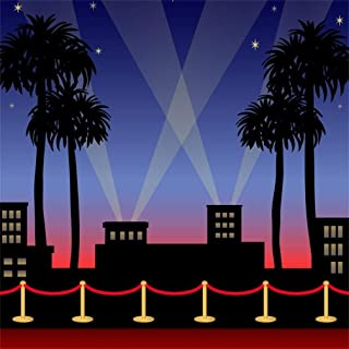 5x5ft Red Carpet Backdrop Movie Night Stage Fence Photography Background Award Ceremony Celebrity Event Party Premiere Banner Photo Studio Props Spotlight Hollywood Activity Decor Wallpaper