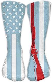 Bigtige, Hombres Mujeres Classics Crew Calcetines Diseño de pistola Bandera americana Negro Calcetines deportivos personalizados 50cm de largo-Toda la temporada