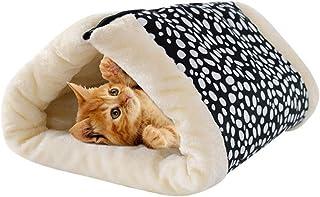 Haplws 2 en 1 Saco de Dormir Plegable para Gatos Cojín para Mascotas Cama para Mascotas cálida Fleece Estera para Gatos Pl...