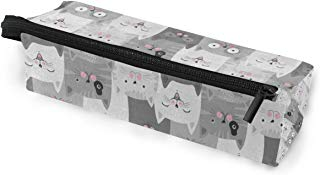 Glasses Case Gray Kitten Cat Multi-Function Zippered Pencil Box Makeup Cosmetic Bag for Women
