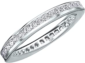 1CT Classic Channel Set Diamond Eternity Ring, 1.0CTTW Wedding Anniversary Band in 18K Gold (H-I Color, I1-I2 Clarity)