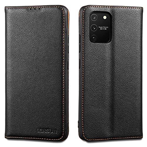 LENSUN Echtleder Hülle für Samsung Galaxy S10 Lite, Leder Handyhülle Magnetverschluss Handytasche kompatibel mit Samsung Galaxy S10 Lite(6,7 Zoll) – Schwarz(S10L-DC-BK)