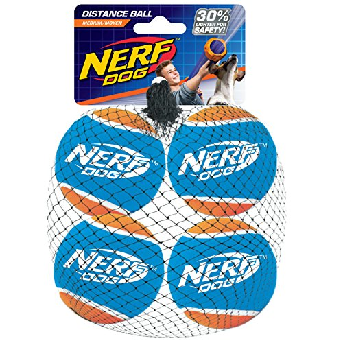 Nerf Dog Bolas de Tenis de Distancia, Paquete de 4