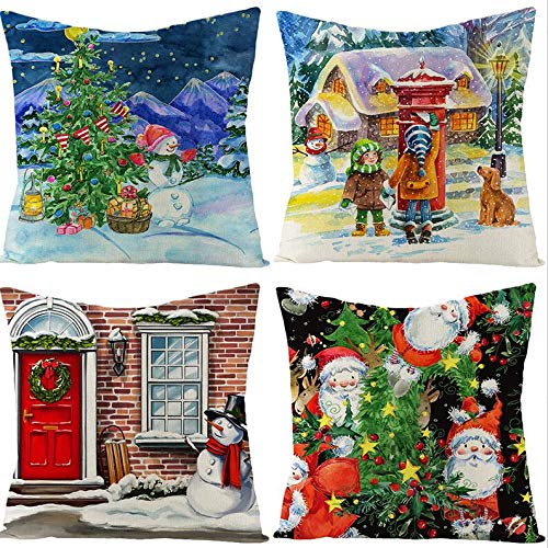 Pantula Christmas Pillow Covers 18×18 Inch Set of 4 - Vintage Farmhouse Christmas Decorations Pillowcase, Xmas Series Linen Cushion Case for Home Decor Winter Holiday Pillow Cover