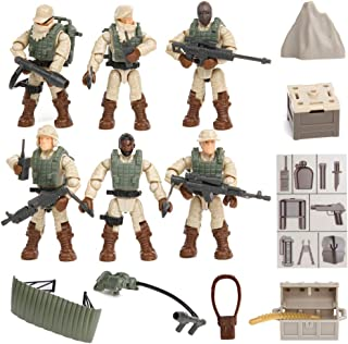 PROLOSO Military Toys Military Models Set Army Men Building Blocks Playset Special Forces Soldier Minifigures Assembling Set Kids Party Favors 6 Pcs