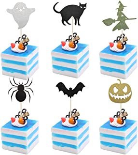 Coxeer 24PCS Cake Topper Creative Cake Bunting Topper Simple Cake Topper for Halloween