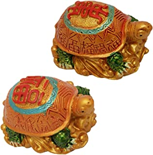 Divya Mantra Pair of Feng Shui Turtle Yellow