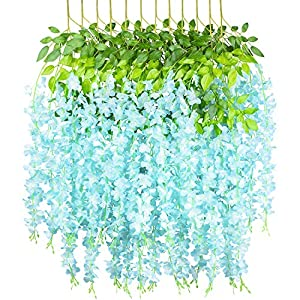GPARK 12 Pieces (Each 45 inch) Wisteria Artificial Flower Bushy Silk Vine Ratta Hanging Garland Hanging for Wedding Party Garden Outdoor Greenery Office Wall Decoration Light Blue