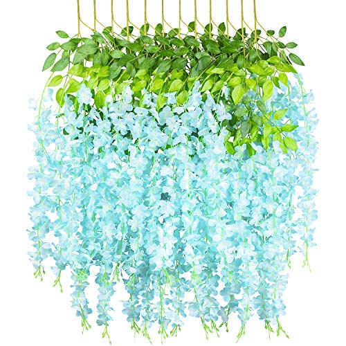 GPARK 12 Pieces Wisteria Artificial Flower 45 inch Bushy Silk Vine Ratta Hanging Garland Hanging for Wedding Party Garden Outdoor Greenery Office Wall Decoration Light Blue