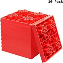 ATDAWN 10 Pack Leveling Blocks, Ideal for Leveling Single and Dual Wheels, Hydraulic Jacks, Tongue Jacks, Stabilizer Jacks, Red