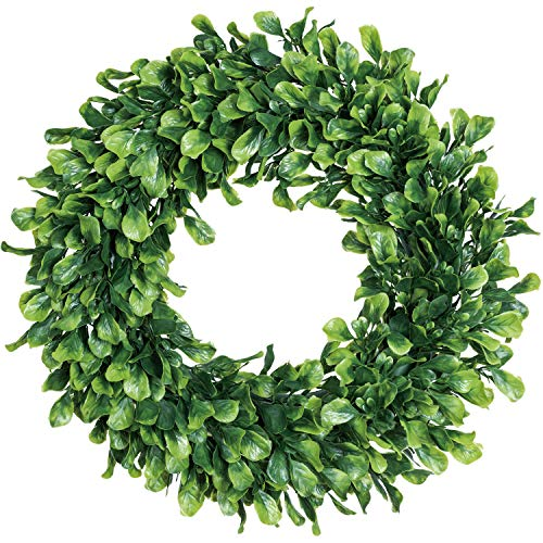 Lvydec Artificial Green Leaves Wreath - 15' Boxwood Wreath Outdoor Green Wreath for Front Door Wall Window Party Décor