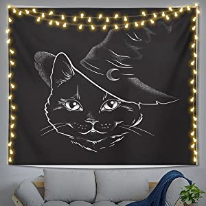 Cat Tapestry Black Funny Cat Witchy Tapestry Wall Hanging Gothic TapestryFor Bedroom With For Bedroom Living Room Dorm BedroomDecorAesthetic Cat WallArt 60
