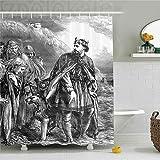 CHENHAO Cortina de Ducha Lavable Victoriano Vintage Periódico Arte del Rey Canuto Civilizaciones Antiguas Historia Edad Media Imagen Poliéster Baño Impermeable 200X240cm