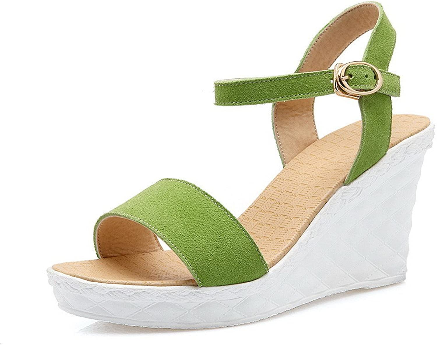 AllhqFashion Women's Buckle Open Toe High-Heels Imitated Suede Solid Wedges-Sandals