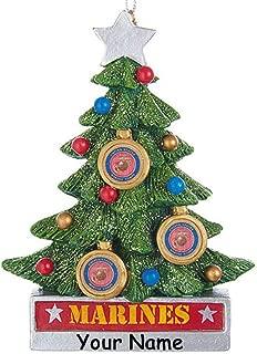 Kurt Adler Personalized USMC United States Marine Corps Hanging Christmas Ornament Glittered Christmas Tree Decoration with Custom Name