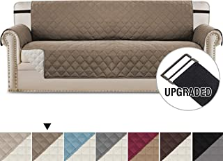 H.VERSAILTEX Reversible Sofa Slipcover Water Repellent Sofa Cover Couch Covers for Dogs Furniture Protector, 2 Inch Wide Elastic Straps Anti-Slip Couch Slipcover (Oversized Sofa: Taupe/Beige)