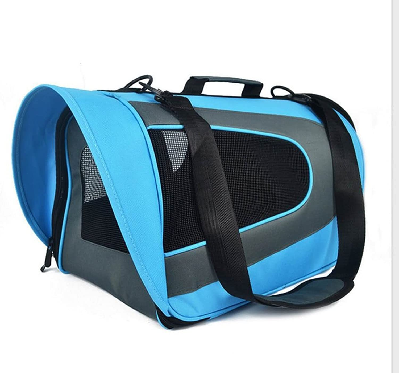 LongYu Pet Backpack,Travel Carrier Collapsible Shoulder Backpack Portable Kennel Breathable Outdoor Puppy Cat Dog Bag 4 color (color   bluee)