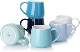 Sweese 618.003 Coffee Mugs - 12 Ounce for Coffee, Tea, Cocoa, Set of 6, Cool Assorted Colors