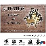 Pets-Easy.com Attention Chien de Garde personnalisée Berger Belge Malinois - pré percée et vis proposées. De 30 cm à 15 cm…