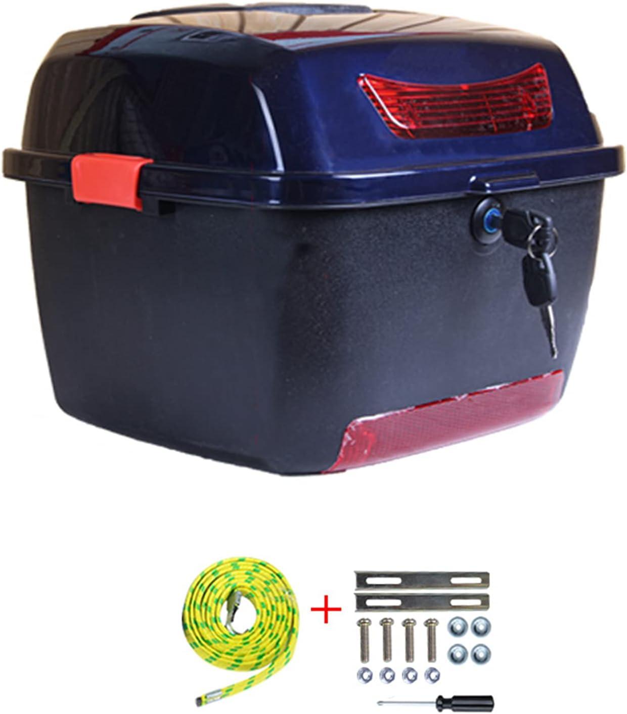 ASDQWER Baúl Moto Universal,Moto Topcase Casco, Bloqueo De La Cola De La Cubierta Superior, Caja del Soporte De Almacenamiento, para Scooter De Motocicleta con Hardware De Montaje,Sapphire Blue