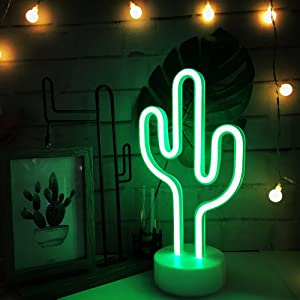 Nordstylee Cactus LED Neon Light with Holder Base USB&Battery Powered Table Lamp for Summer Party Birthday Bedroom Bedside Table Decoration Children Kids Gifts(Cactus Holder Base)