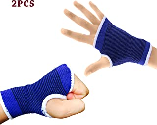 2PCS Wrist Support Medium Compression Sleeve with Thumb Palm Carpal Tunnel Brace Splints for Relieved Tendonitis Arthritis Pain Blue