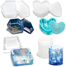 4Pcs Epoxy Resin Casting Art Molds Include Holder Ashtray, Round Pen Holder,Heart Shape Silicone Mold, Hexagon Storage Box Mold for DIY Jewelry, Flower Pot/Pen/Candle Soap Holder