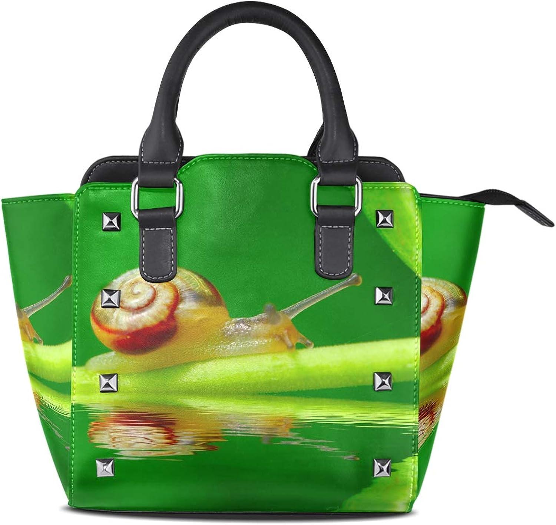 Women's Handbags Snail On Green Leaf Garden Pool Tote