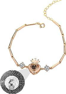 Braccialetto personalizzato con proiezione di foto braccialetto 100 lingue TI AMO Bracciale con corona