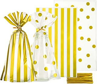Clear Cello Bags 6x10 inch for Treat Candy Cookie Party Favor Bags, Gold Stripe and Gold Dot,Pack of 100
