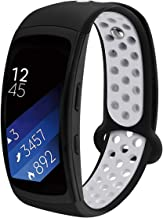 Compatible Samsung Gear Fit2 /Fit2 Pro Band,Soft Silicone Replacement Strap Sport Band Bracelet Wristband Samsung Fit2 SM-R360 /Fit 2 Pro SM-R365 SmartWatch Fitness (Black-Grey)