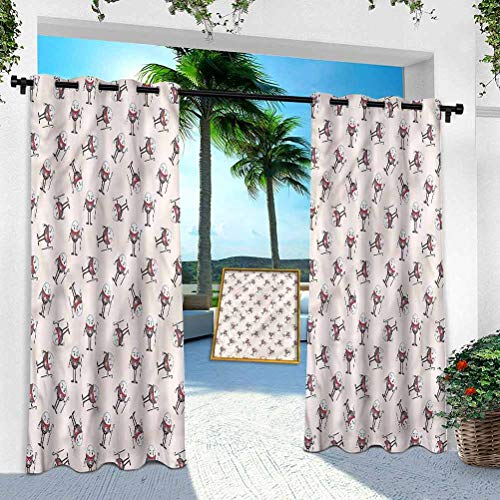 Outdoor Curtains for Porch, Alice in Wonderland,Egg Character, 84 Inches Long Extra Wide Blackout Thermal Insulated Curtain Drape for Pergola/Sunroom(1 Panel)