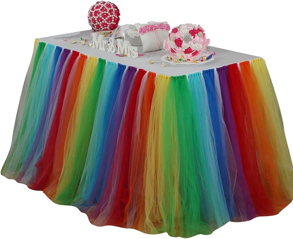 Ketamyy Europa Y América Color del Arco Iris Fluffy Tutu Falda De Mesa Decoración De Cumpleaños De Princesa Arco Iris 91.5cm*80cm