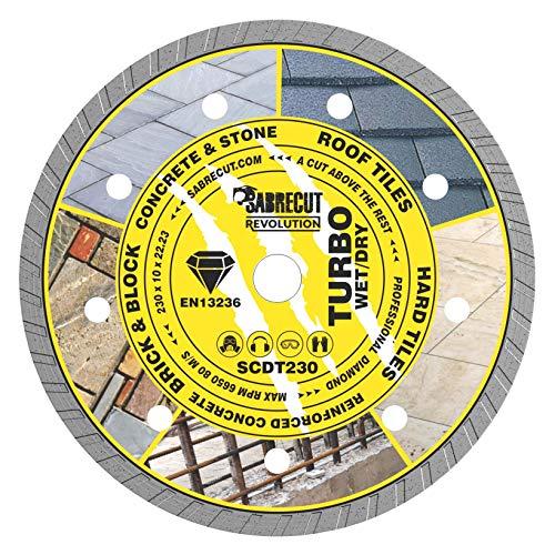 "1 x SabreCut SCDT230 230 mm (9"") x 10 mm x 22,23 mm diámetro Turbo ángulo amoladora diamante circular hoja para Bosch Dewalt Makita Milwaukee y muchos otros"
