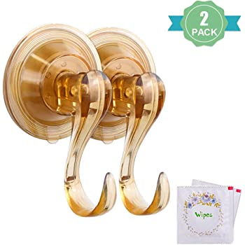 Suction Cup Hooks HMSEC Removable Clear Heavy Duty Vacuum Suction Hooks with Cleaning Cloth Window Kitchen Bathroom Wall Hooks Hanger for Towel Loofah Sponge Cloth Key Christmas Wreath 4 Packs