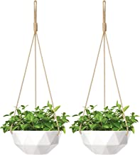 Mkono 9 Inch Ceramic Hanging Planter Indoor Outdoor Modern Geometric Flower Plant Pot White Porcelain Hanging Basket with ...