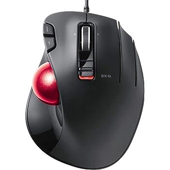 エレコム トラックボールマウス 5ボタン + 減速スイッチ + チルト機能 有線 赤色ボール標準搭載モデル 親指操作タイプ ブラック M-XT2URBK-G