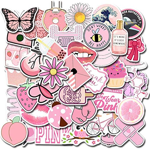MQIAN 100 Pack Cute Vsco Stickers, Water Bottle Stickers, Trendy Stickers for Laptop, Notebook, Skateboard, Luggage, Bumper, Guitar, Bike (Pink)