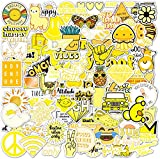 100 Yellow VSCO Stickers, Aesthetic Stickers, Cute Stickers, Laptop Stickers, Vinyl Stickers, Stickers for Water Bottles, Waterproof Stickers for Kids Teens, Christmas Teen Girl Gifts, Sticker Packs