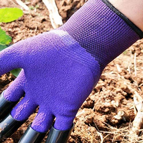 Garden Genie Gloves with Claws, Purple Waterproof Garden Gloves For Digging Planting, Best Gardening Gloves for Men and Women
