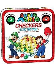 USAopoly USOCM005191 Bros Super Mario Combo Checkers/Tic Tac Toe Tin, Mixed Colours
