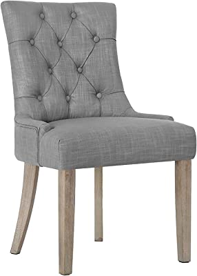 Artiss Fabric Upholstered Dining Chair, Wooden French Provincial Dining Chair, Grey
