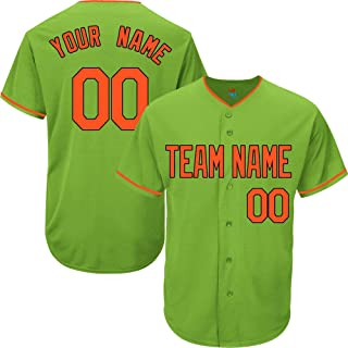 Light Green Custom Baseball Jersey for Men Women Youth Replica Embroidered Team Name & Numbers S-5XL Orange Black