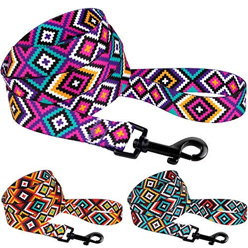 CollarDirect Aztec Dog Leash Nylon Tribal Pattern Cat Pet Leashes for Small Medium Large Dogs Puppy Lead 5 FT Long for Walking (Tribal Magenta, M)