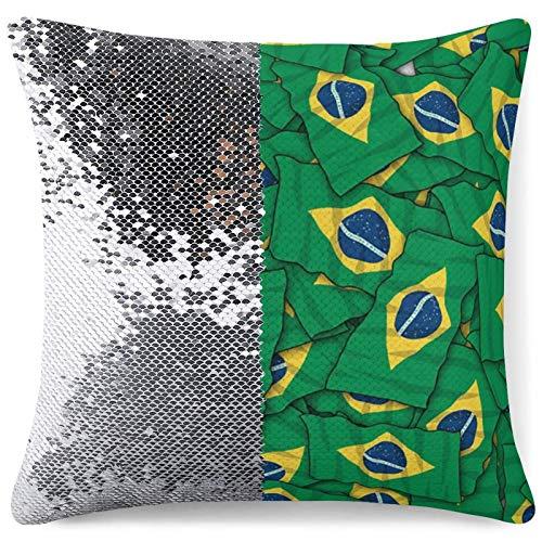 Almohada de Sirena Reversible, Patas y Huesos de Perro, Fundas de Almohada Decorativas de Bandera Americana para Silla, sofá, Cama, sofá,