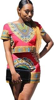 Amanod Women Dashiki African Print Short Tops+High Waist Pants 2 Piece Set