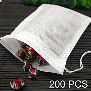 Tea Filter Bags 200-Pack 2.75 x 3.54 inch Disposable Tea Infuser Natural Non-woven Fabric Material Drawstring Tea Bag Empty for Loose Tea