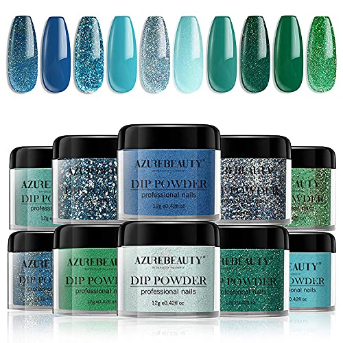 Dip Powder Nail Set 10 Colors, AZUREBEAUTY Blue Green Glitter Collection Acrylic Dipping Powder Starter Kit for French Nail Art Manicure DIY Salon, Odor-Free and Long-Lasting, No Needed Nail Lamp Cure