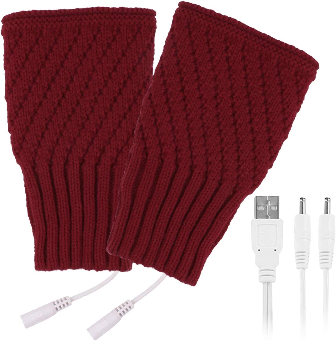 Petyoung Men USB Heated Glove Half Finger Knitted Hand Warmer Winter Knitted Warm Mitten Suitable for Typing Working